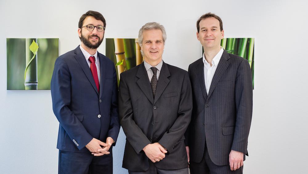 eLearning Valais 3.0: Damien Carron, directeur académique d'UniDistance, François Foglia, directeur adjoint d'Idiap, Mael Guillemot, directeur de Klewel
