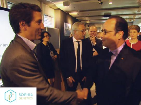 Jurgi Camblong, CEO of Sophia Genetics with François Holland, President of France